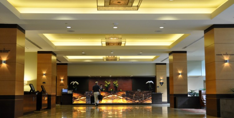 Stunning lobby of the upscale Hyatt Regency Bellevue hotel. Credit: Curt Woodhall, Arrivals